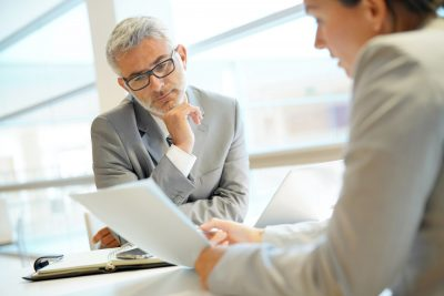 business owner reviewing estate planning documents