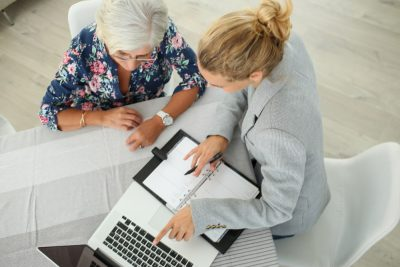 estate planning lawyer working with client