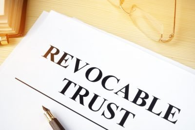 close up of revocable trust document
